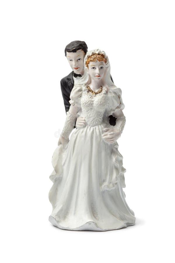Oude van de pleisterbruid en bruidegom cake topper stock afbeeldingen