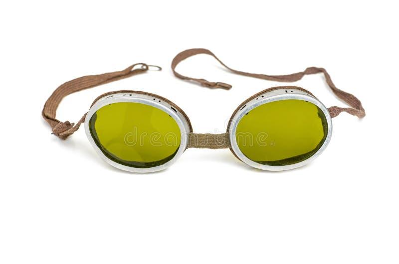 Oude veiligheidsbeschermende brillen royalty-vrije stock foto