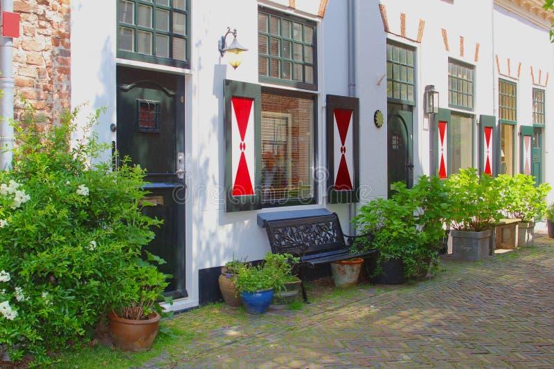 Oude verfraaide muurhuizen in Amersfoort, Nederland royalty-vrije stock foto's