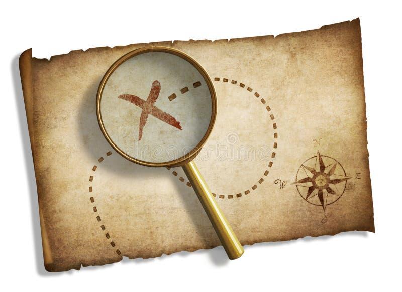 Oude vergrootglas en de schatkaart van piraten royalty-vrije illustratie