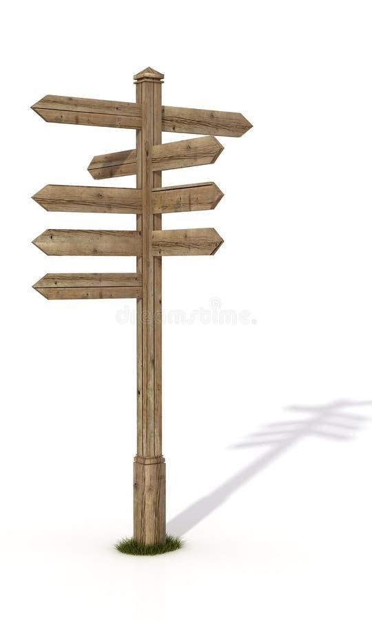 Oude verkeerstekenpost vector illustratie