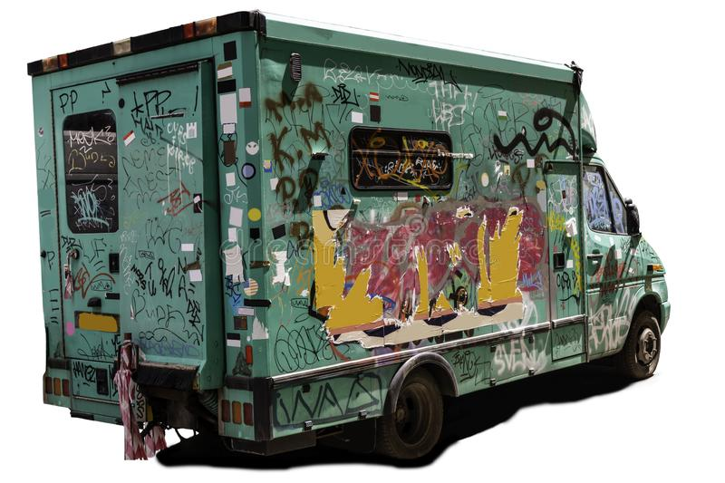 Oude verlaten en geruïneerde bestelwagen royalty-vrije stock foto's
