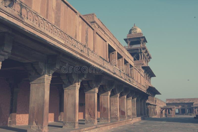 Oude verlaten stad van Fatehpur Sikri, XVI eeuw Agra, Uttar Pradesh, India toning royalty-vrije stock foto's