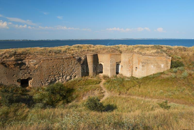 Oude vesting op het Berezan-eiland, de Oekraïne, oude architectuur royalty-vrije stock foto