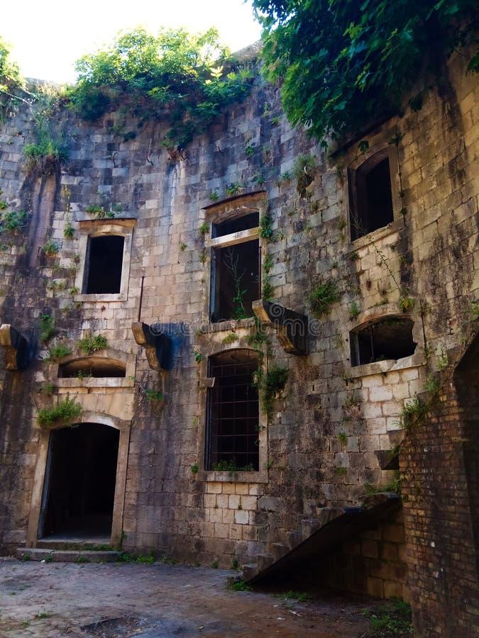 Oude vesting op het Eiland Mamula montenegro royalty-vrije stock fotografie