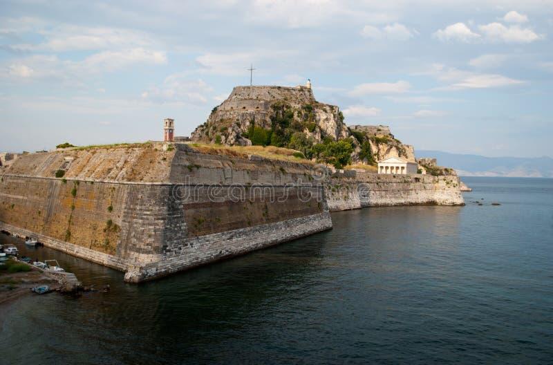 Oude vesting van Korfu stock fotografie