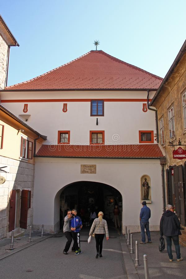 Oude Vestingspoort, Zagreb royalty-vrije stock afbeelding