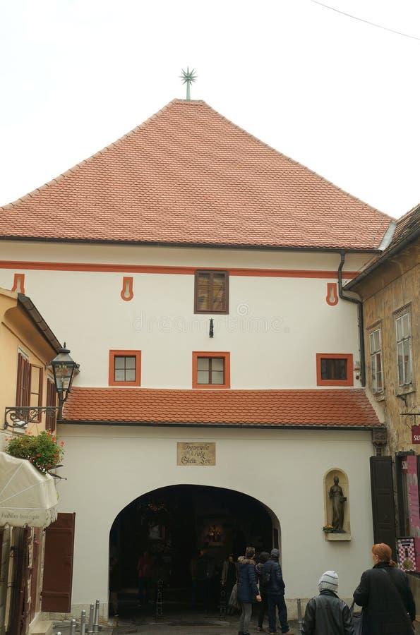 Oude Vestingspoort in Zagreb stock foto's