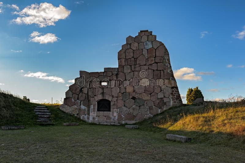 Oude vestingsruïnes, Bomarsund, Aland-Eilanden, Finland royalty-vrije stock foto