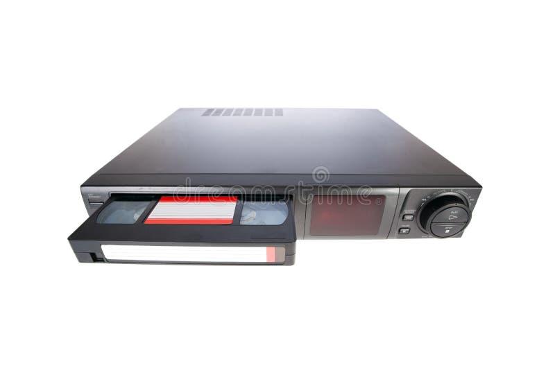 Oude VideoCassetterecorder die band uitwerpt stock afbeelding