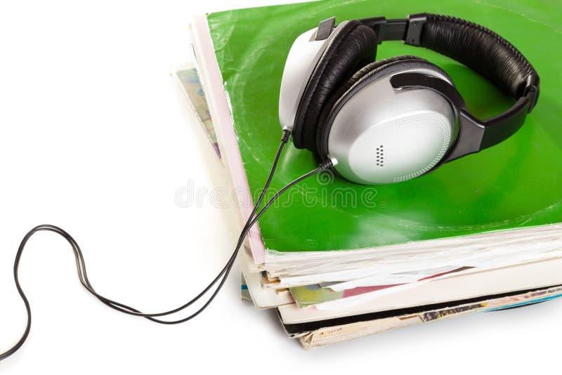 Oude vinyl en hoofdtelefoons royalty-vrije stock fotografie