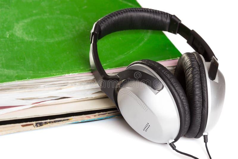 Oude vinyl en hoofdtelefoons stock fotografie