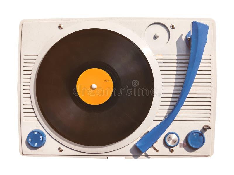 Oude vinyldiedraaischijfspeler met verslag op wit wordt geïsoleerd stock afbeelding