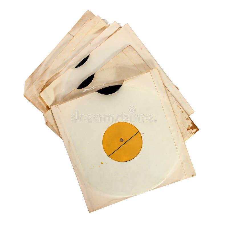 Oude vinylverslagen in document dekking royalty-vrije stock afbeelding