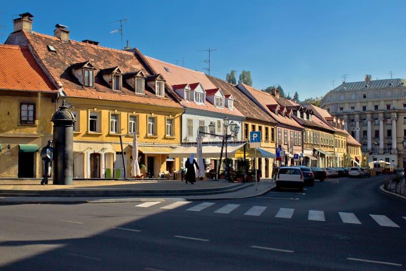 Oude Vlaska-straat in Zagreb stock foto's