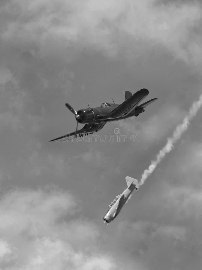 Oude vliegtuigenslag royalty-vrije stock afbeeldingen