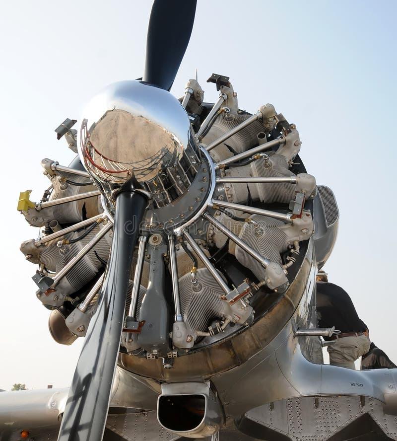 Oude vliegtuigmotor royalty-vrije stock foto's
