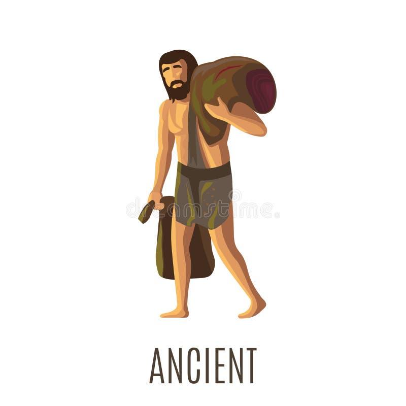 Oude voorhistorische mens met zware zakken stock illustratie
