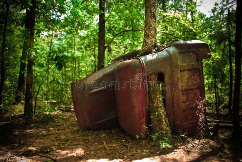Oude vrachtwagen in het meest forrest royalty-vrije stock afbeeldingen
