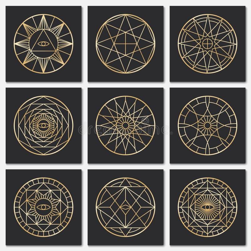 Oude vrijmetselaars- pentagrams Steampunk gouden heilige vectorsymbolen op donkere achtergronden stock illustratie