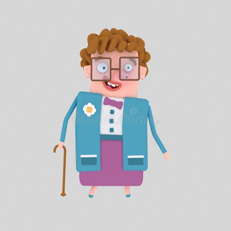 Oude vrouw die met stok lopen 3d royalty-vrije illustratie