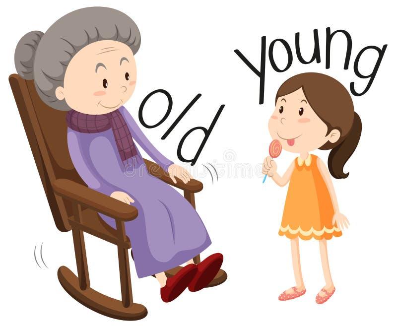 Oude Vrouw en Jong Meisje stock illustratie