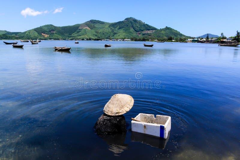 Oude vrouw het plukken oesters in Lap An-vijver stock foto's
