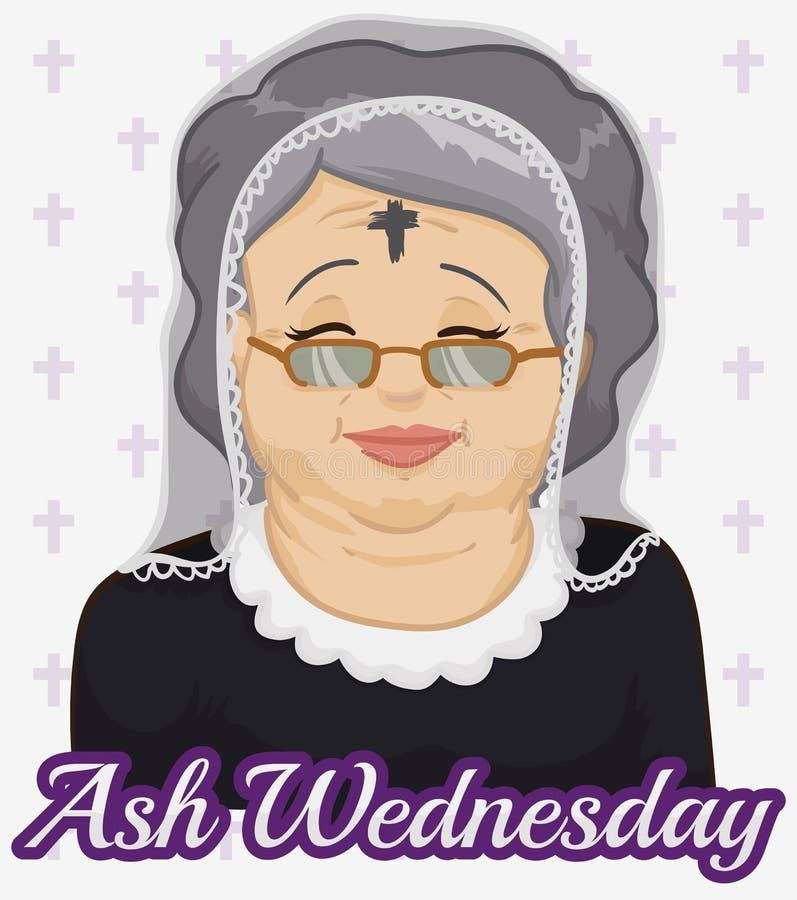 Oude Vrouw met Ash Cross en Sluier op Ash Wednesday, Vectorillustratie royalty-vrije illustratie