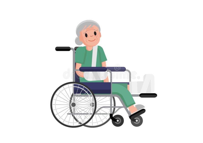 Oude vrouw met gebroken beenzitting in de rolstoel grootmoeder in een rolstoel met gebroken been Vector vlakke ontwerpillustratie royalty-vrije illustratie