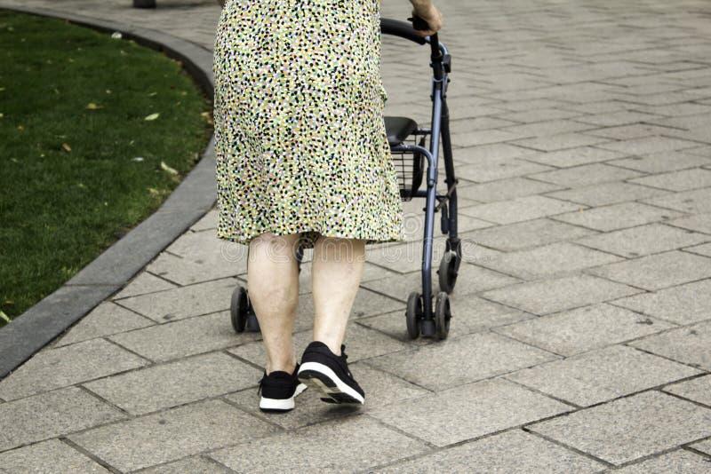 Oude Vrouw met Leurder stock afbeelding