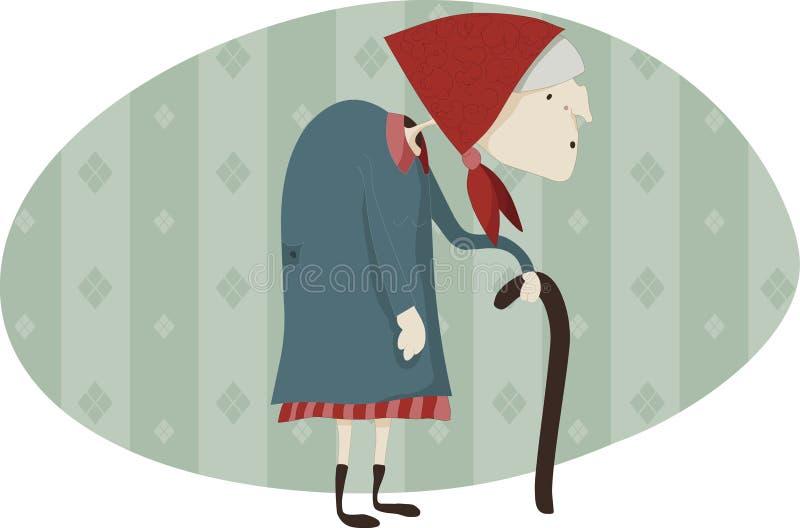Oude vrouw met walking-stick royalty-vrije illustratie