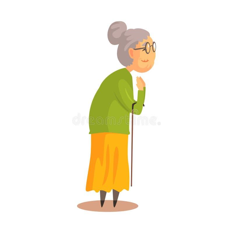 Oude vrouw met wandelstok die en kleurrijke beeldverhaal gedetailleerde vectorillustratie bevinden zich toejuichen vector illustratie