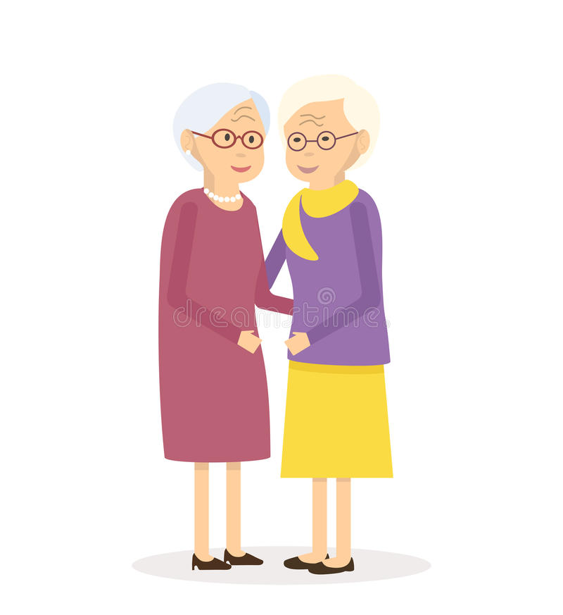 Oude Vrouwenvrienden vector illustratie