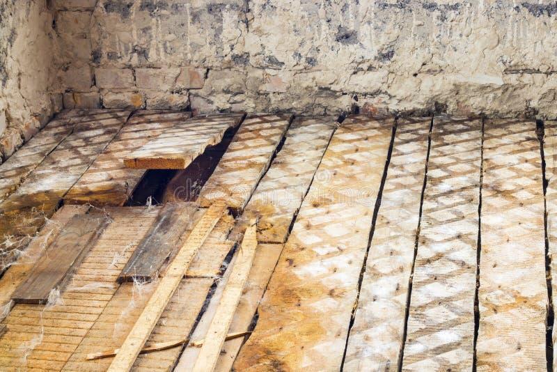 Oude vuile gebroken vloer royalty-vrije stock afbeelding