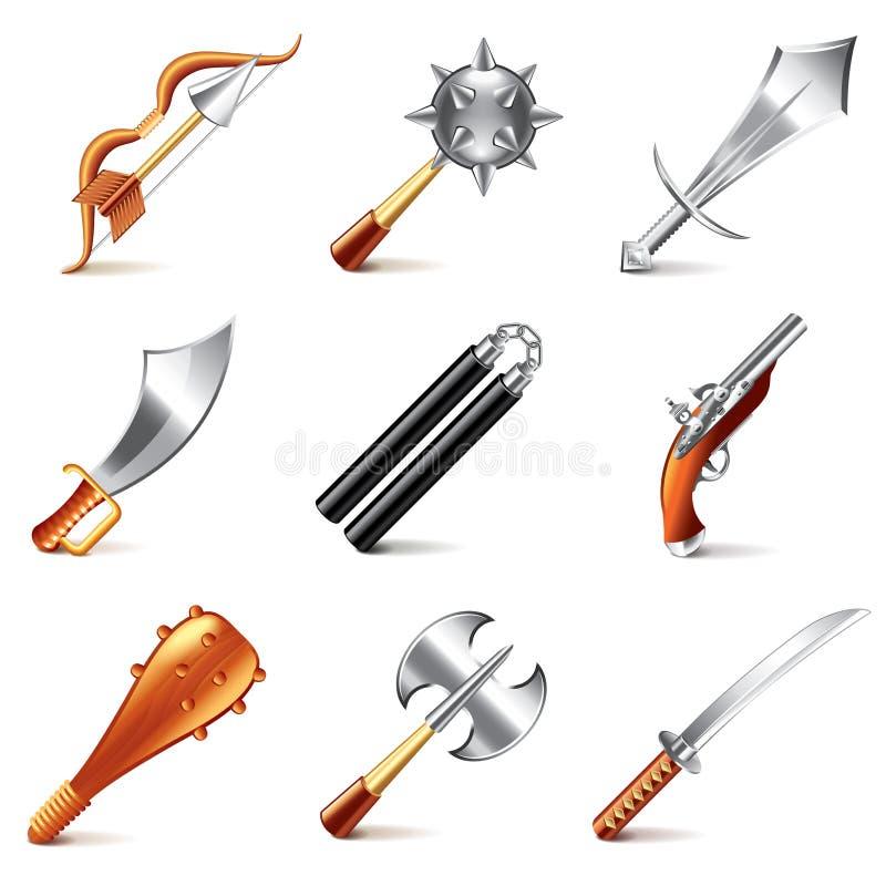 Oude wapens voor de vectorreeks van spelenpictogrammen vector illustratie
