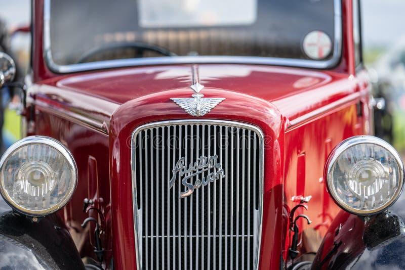 OUDE WARDEN, BEDFORDSHIRE, UK, OCTOBER 6, 2019 De Austin 7 is een zuinige auto die van 1922 tot 1939 in de Verenigde Staten werd  royalty-vrije stock foto's
