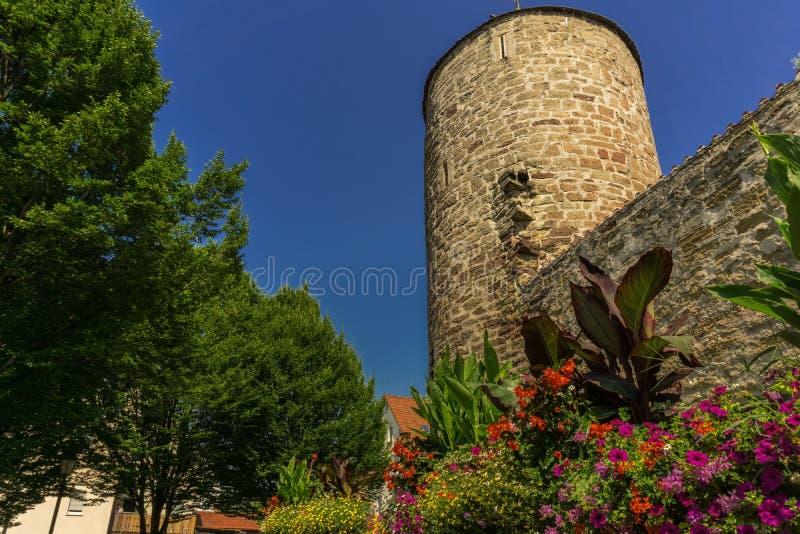 Oude watchtower met hieronder bloemen royalty-vrije stock afbeelding