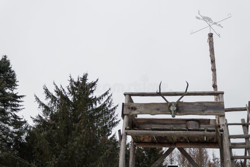Oude watchtower van het school zelf gemaakte bosgezag bovenkant stock fotografie