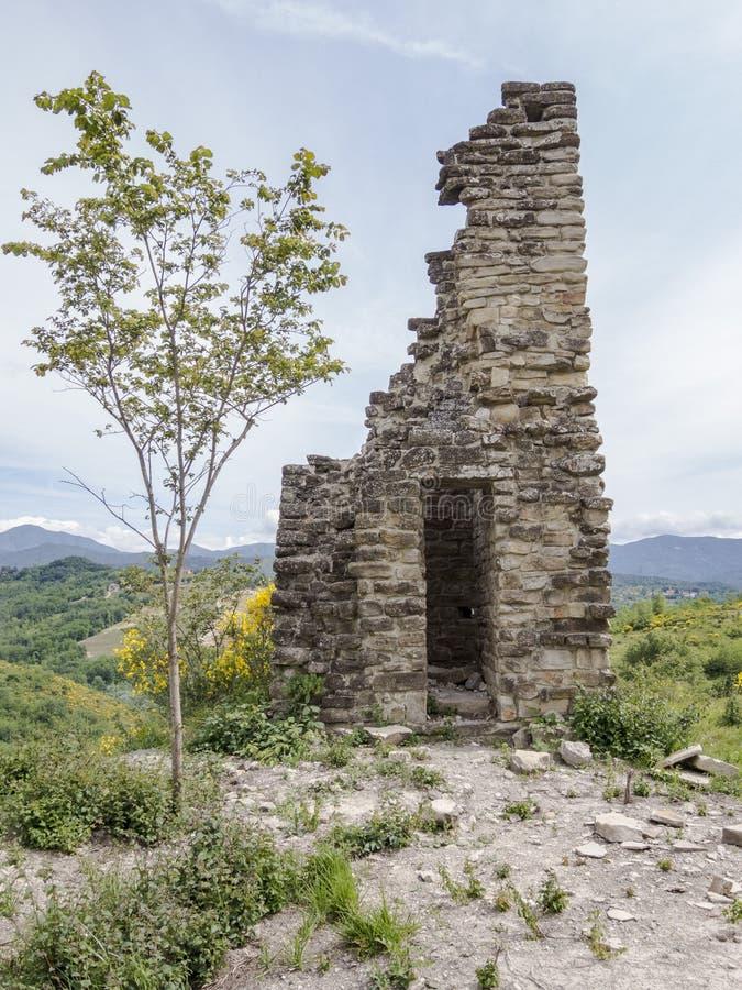 Oude watchtower, vierde eeuw, ruïnes stock foto