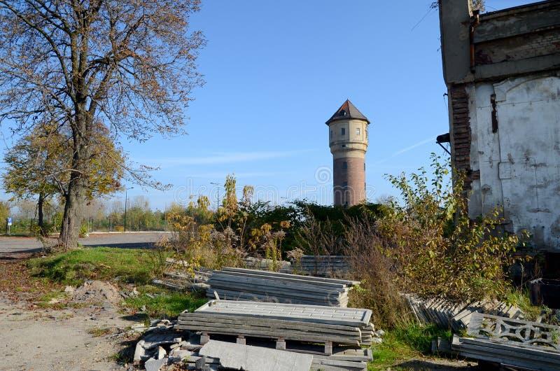 Oude watertoren in Katowice, Polen stock afbeeldingen