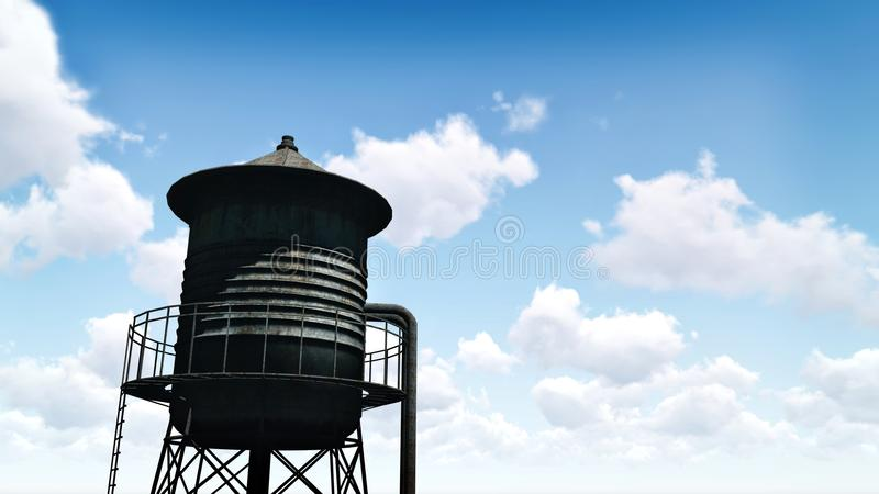 Oude watertoren tegen blauwe bewolkte hemel royalty-vrije stock foto's