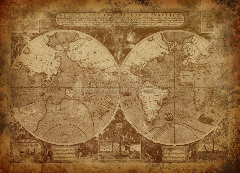 Oude wereldkaart stock foto's