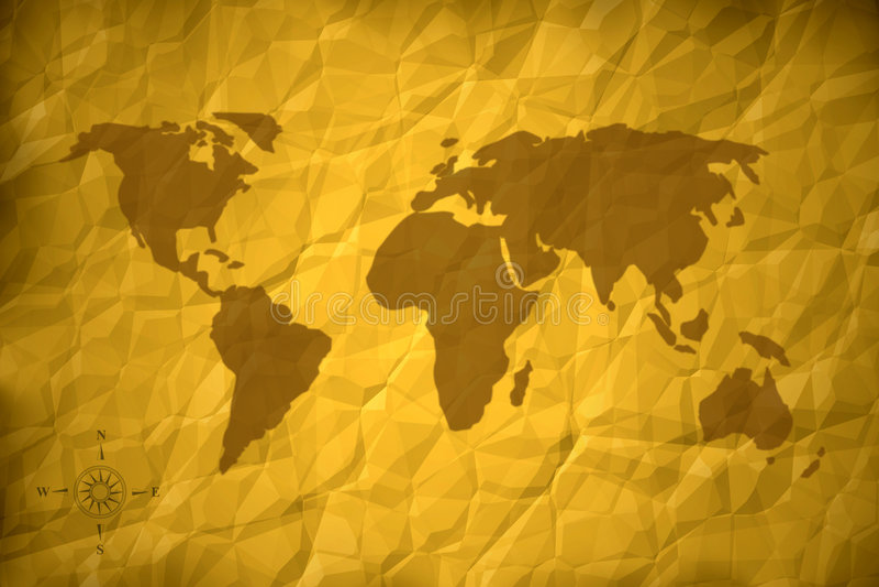 Oude wereldkaart stock illustratie
