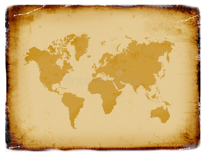 Oude wereldkaart, grunge achtergrond vector illustratie