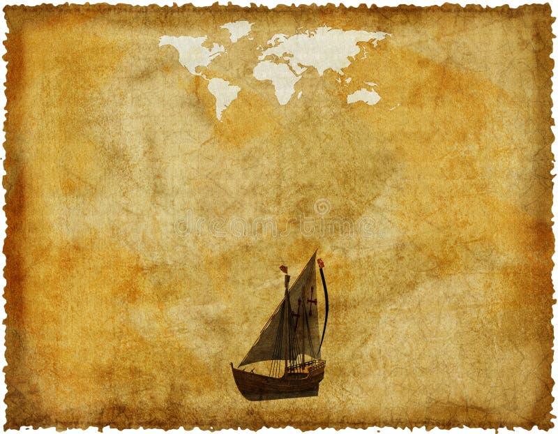 Oude wereldkaart op grungedocument stock illustratie