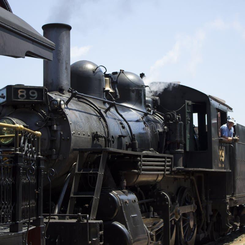 Oude werkende stoom locomovite I strassburg, pa stock fotografie