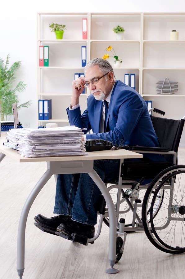 Oude werknemer in rolstoel die in het bureau werken royalty-vrije stock foto