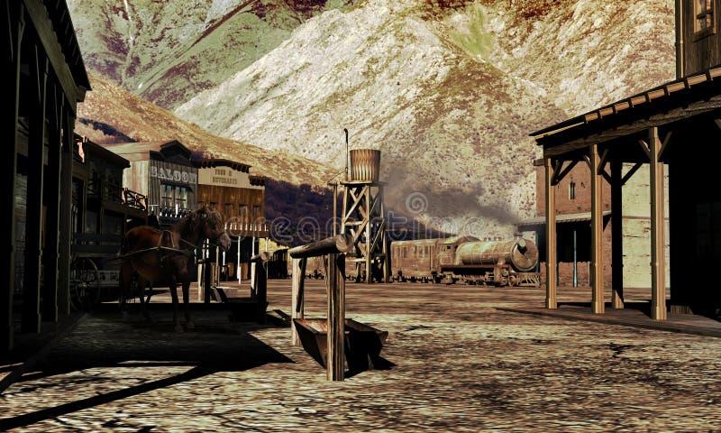 Oude westelijke stad stock illustratie