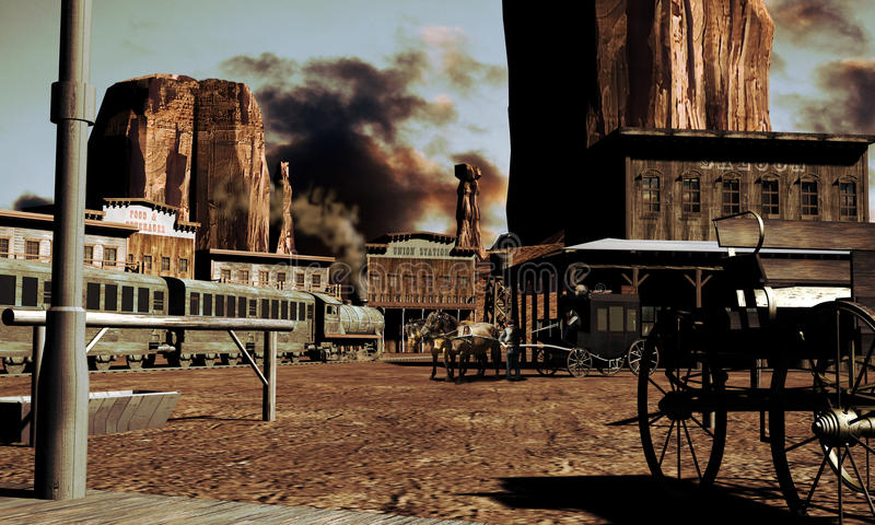Oude westelijke stad vector illustratie