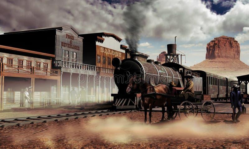 Oude westelijke stad royalty-vrije illustratie